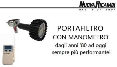 Il portafiltro con manometro di Nuova Ricambi: per la messa a punto della macchina per l'espresso.