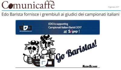 Edo Barista fornisce i grembiuli ai giudici dei campionati italiani