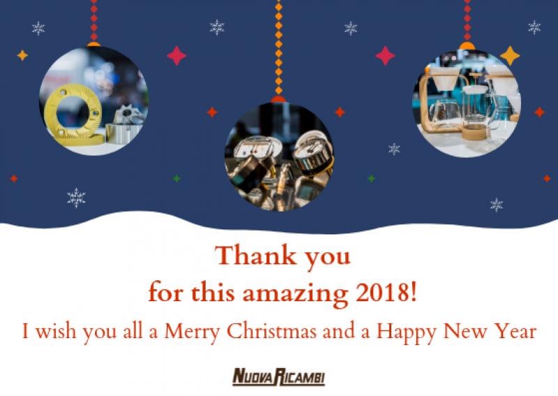 Grazie per questo meraviglioso 2018. Buone feste dal team Nuova Ricambi