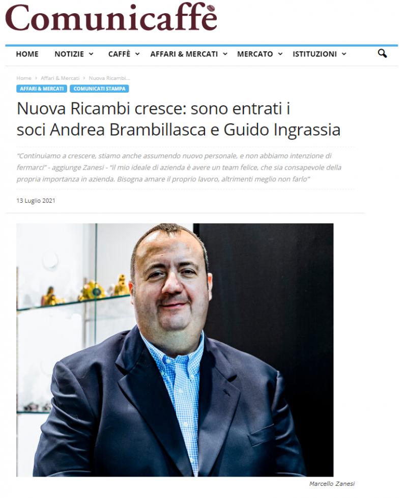 Nuova Ricambi cresce: sono entrati i soci Andrea Brambillasca e Guido Ingrassia