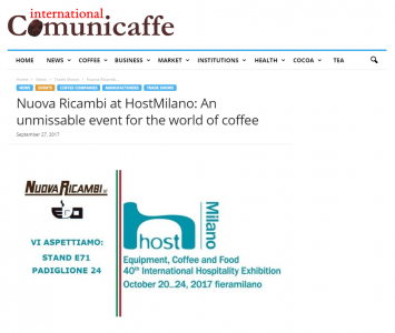 Nuova Ricambi at HostMilano: An unmissable event for the world of coffee
