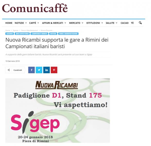 Nuova Ricambi supporta le gare a Rimini dei Campionati italiani baristi