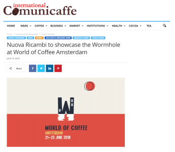 Nuova Ricambi to showcase the Wormhole at World of Coffee Amsterdam