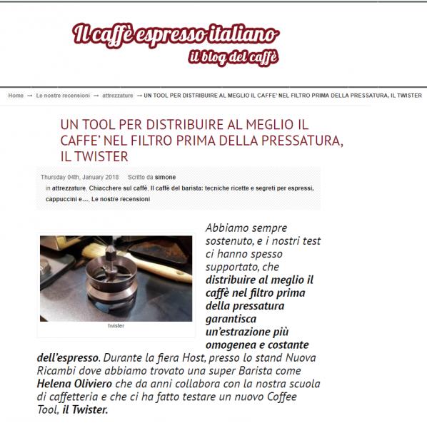 UN TOOL PER DISTRIBUIRE AL MEGLIO IL CAFFÈ' NEL FILTRO PRIMA DELLA PRESSATURA, IL TWISTER