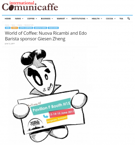 World of Coffee: Nuova Ricambi and Edo Barista sponsor Giesen Zheng